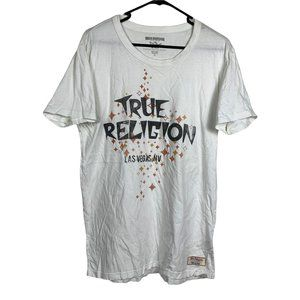 True Religion T-Shirt Mens Size M White Made in USA Graphic Print